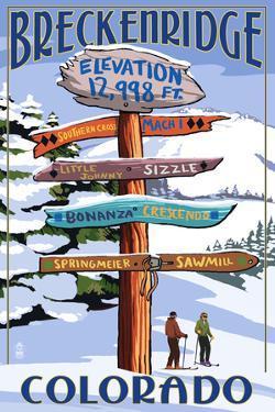 Breckenridge, Colorado - Ski Run Signpost by Lantern Press