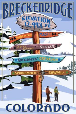 Breckenridge, Colorado - Ski Run Signpost by Lantern Press