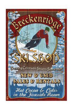 Breckenridge, Colorado - Ski Shop Vintage Sign by Lantern Press
