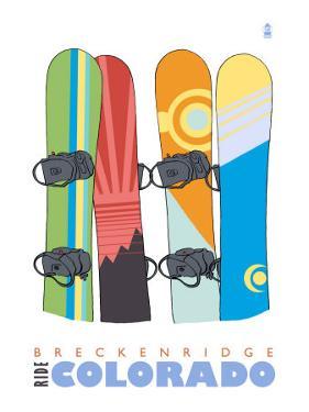 Breckenridge, Colorado, Snowboards in the Snow by Lantern Press