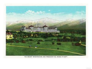 Bretton Woods, NH - Mt Washington Hotel, Presidential Range in September by Lantern Press