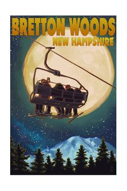 Bretton Woods, NH - Ski Lift and Full Moon by Lantern Press