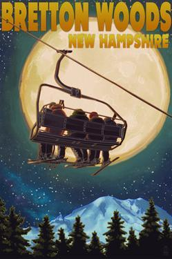 Bretton Woods, NH - Ski Lift and Full Moon by Lantern Press