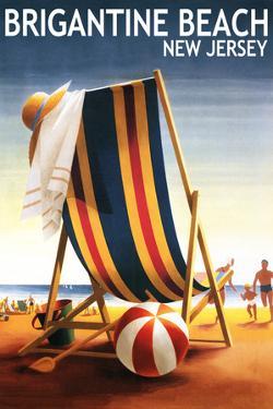 Brigantine Beach, New Jersey - Beach Chair and Ball by Lantern Press