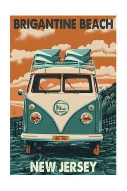 Brigantine Beach, New Jersey - VW Van by Lantern Press