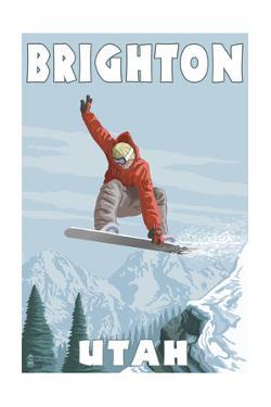 Brighton Resort, Utah - Snowboarder Jumping by Lantern Press