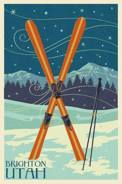 Brighton, Utah - Crossed Skis by Lantern Press