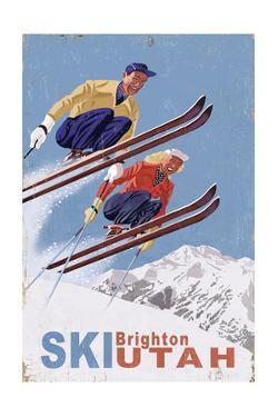 Brighton, Utah - Vintage Skiers by Lantern Press