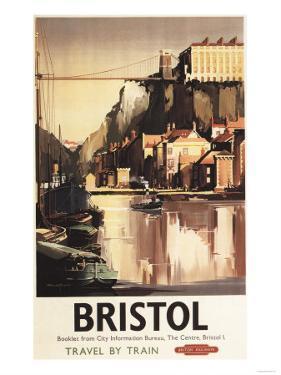 Bristol, England - Clifton Suspension Bridge and Boats British Rail Poster by Lantern Press