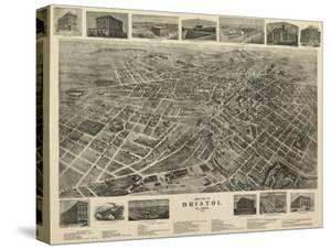 Bristol, Virginia - Panoramic Map by Lantern Press