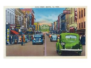 Bristol, Virginia - View of State Street and Bristol, Tennessee by Lantern Press