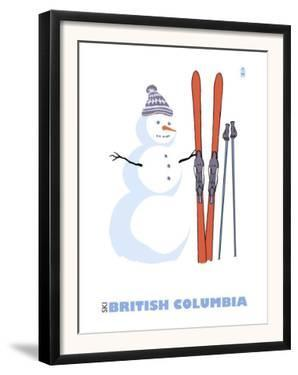 British Columbia, Canada, Snowman with Skis by Lantern Press