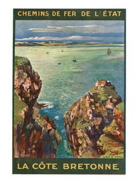 Brittany, France - Panoramic View of the Sea from Rocky Coast, State Railways Postcard, c.1920 by Lantern Press