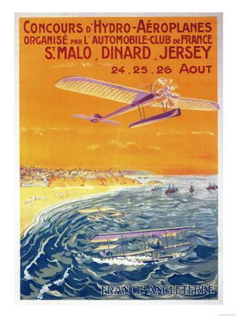 Brittany, France - View of Float Planes in Air and Water Poster by Lantern Press