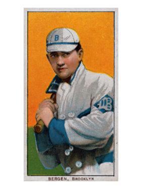 Brooklyn, NY, Brooklyn Dodgers, Bill Bergen, Baseball Card by Lantern Press