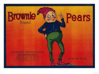 Brownie Pear Crate Label - Sacramento, CA by Lantern Press