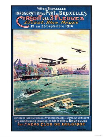 Brussels, Belgium - Cancelled Float Plane Promotional Poster by Lantern Press