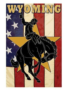 Bucking Bronco - Wyoming by Lantern Press