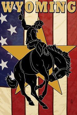 Bucking Bronco - Wyoming by Lantern Press