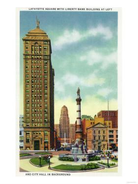 Buffalo, New York - Lafayette Square View of Liberty Bank Bldg, City Hall by Lantern Press