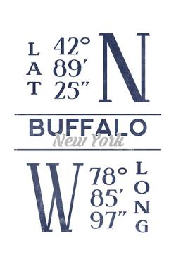 Buffalo, New York - Latitude and Longitude (Blue) by Lantern Press
