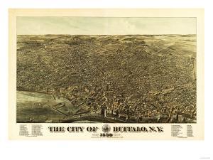 Buffalo, New York - Panoramic Map by Lantern Press