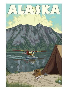 Bush Plane and Fishing, Alaska by Lantern Press