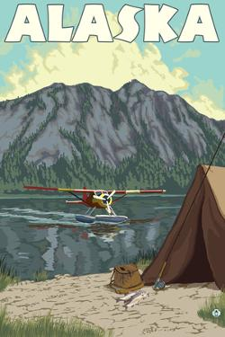 Bush Plane and Fishing, Alaska by Lantern Press