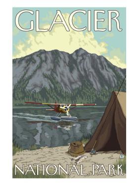 Bush Plane & Fishing, Glacier National Park, Montana by Lantern Press