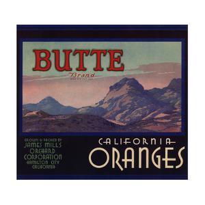 Butte Brand - Hamilton City, California - Citrus Crate Label by Lantern Press