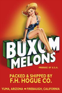 Buxom Melons - Crate Label by Lantern Press