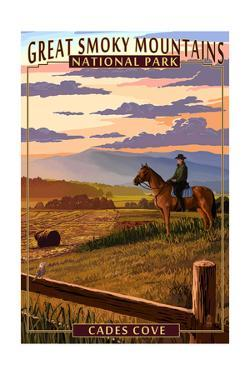 Cades Cove and Horse - Great Smoky Mountains National Park, TN by Lantern Press