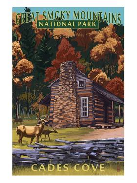 Cades Cove and John Oliver Cabin - Great Smoky Mountains National Park, TN by Lantern Press