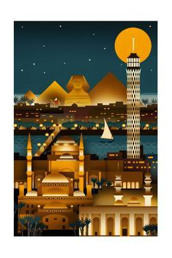 Cairo, Egypt - Retro Skyline (no text) by Lantern Press
