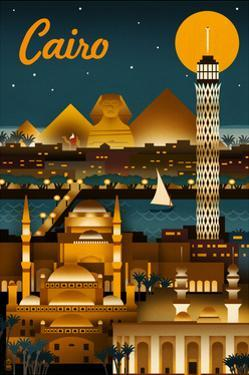 Cairo, Egypt - Retro Skyline by Lantern Press