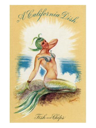 California - A Californian Dish, Fish and Chips; A Pretty Mermaid by Lantern Press