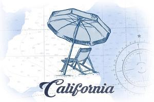 California - Beach Chair and Umbrella - Blue - Coastal Icon by Lantern Press
