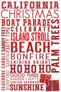 California - Christmas - Typography by Lantern Press