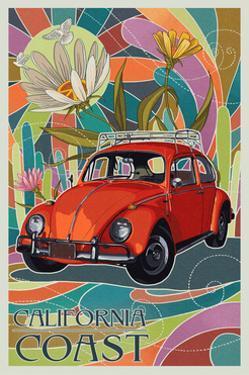 California Coast - VW Bug by Lantern Press