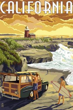 California Coast - Woody and Lighthouse by Lantern Press
