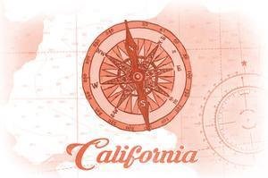 California - Compass - Coral - Coastal Icon by Lantern Press