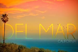 California Del Mar (#2) - Sunset and Birds by Lantern Press