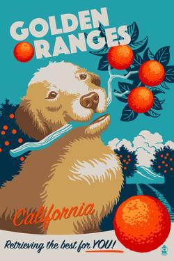 California - Golden Retriever - Retro Oranges Ad by Lantern Press
