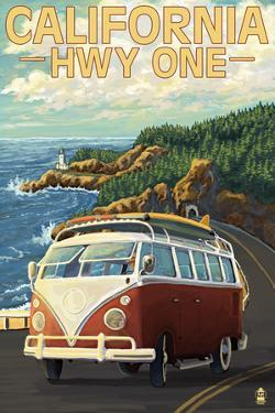 California Highway One Coast VW Van by Lantern Press
