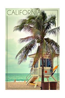 California - Lifeguard Shack and Palm by Lantern Press