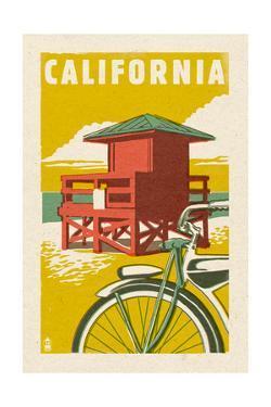 California - Lifeguard Tower Woodblock by Lantern Press