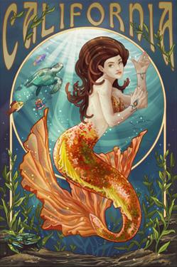 California - Mermaid by Lantern Press