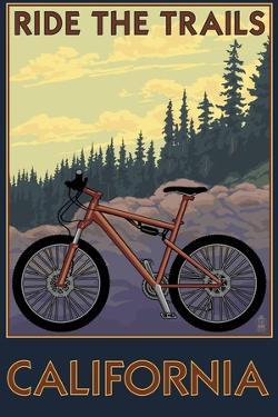 California - Mountain Bike Scene by Lantern Press