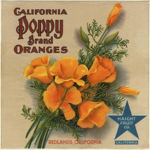 California Poppy Brand - Redlands, California - Citrus Crate Label by Lantern Press