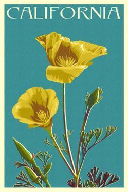 California - Poppy - Letterpress by Lantern Press